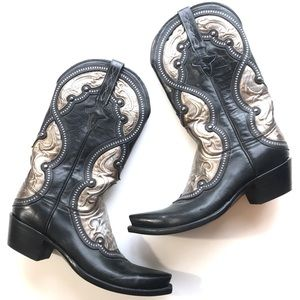Lucchese Metallic Studded Pointed Western Boots